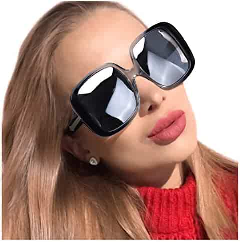 be19a2e84eb2a MuJaJa Oversized Sunglasses for Women Polarized Classic Square Trendy Vintage  Eyewear for Outdoor-100%