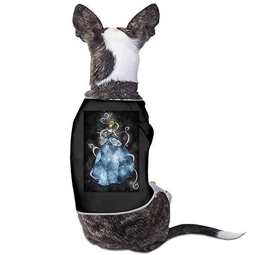 Dog Pet Clothes,Ball Black Blue Cinderella Disney Princess Printed Shirt for Small Dog Medium Dog Or Cat(Black)-S ()