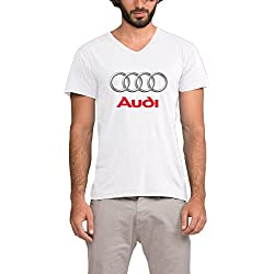 ALIIXUN2 Men's Audi Logo V Neck Short Sleeve T Shirts
