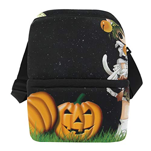 Lovexue Lunch Bag Fabulous Anime Halloween Background Reusable Cooler Bag Adult Leakproof Thermos Organizer Zipper Tote Bags for Outdoor]()