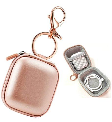 Airpods case, AirPod Charging Protective Case, Premium PU Leather Hard case, Portable Protective Cover Carrying Case with Metal Clasp and Keychain for Apple AirPods Earphones (Rose Gold)