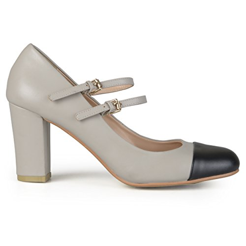 Brinley Co. Womens Cap Toe Two-Tone Round Toe Double Strap Mary Jane Pumps Grey -