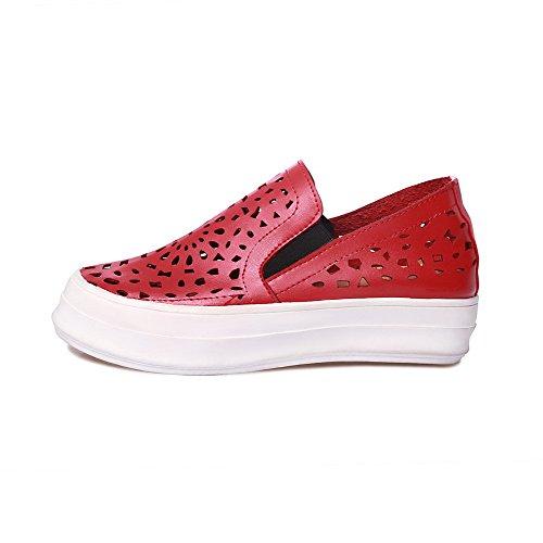 Amoonyfashion Dames Pu Lage Hakken Ronde Gesloten Teen Stevige Pull-on Pumps-schoenen Rood