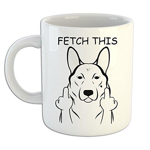 (Fetch this German Shepard Mug - Funny Dog Mug - Dog Lover Mug, Adorable Fetch This Dog Coffee Mug by Tee Shirt Galaxy, Ceramic Coffee Mug, Perfect for Dog Lover's)