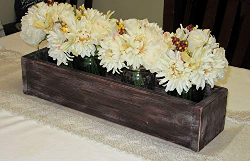 Distressed Wood Planter Box • Mason Jar Centerpiece, Candle Holder, Wedding Centerpiece • 20 inches long -