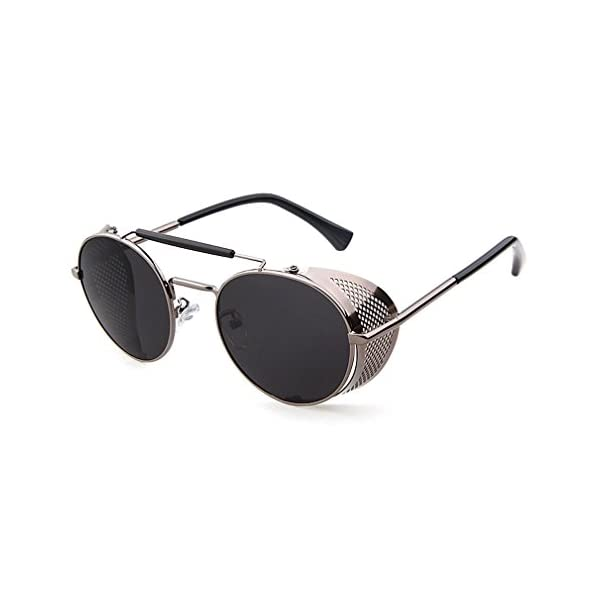 Sunglasses Side Shield Steampunk Vintage Cool UV Protection Round Glasses For Women&Men 5