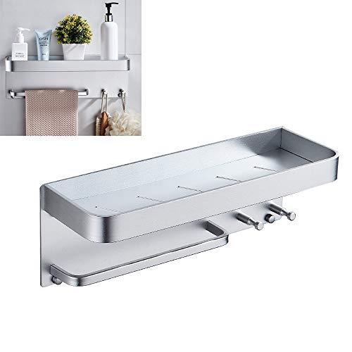 Modenny Sin Clavos Negro Espacio Aluminio Estantes de baño con Ganchos Soporte de Pared Estante de baño Baño...