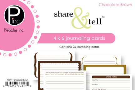 Share Tell Journaling Cards (Pebble 4 Inch x6 Inch Share & Tell Journaling Cards - 25PK/Chocolate)
