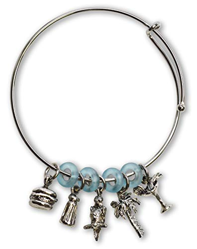 Real Metal Paradise Parrot Head Wire Bracelet with Five Charms and Blue Beads