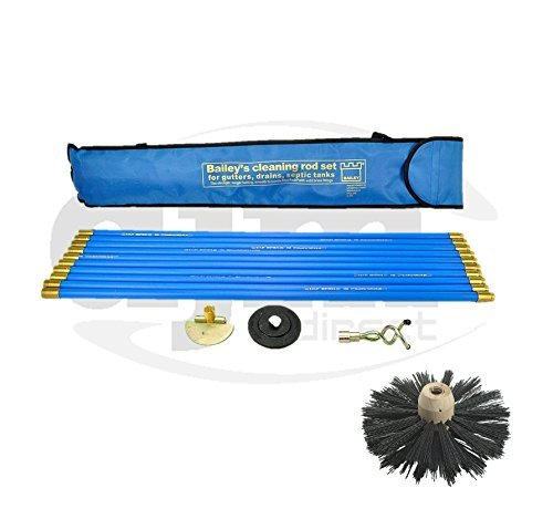 Drain Sweep - Industrial Bailey Universal 30ft Chimney Brush Sweep Sweeping Drain Rod Set Kit by Bailey