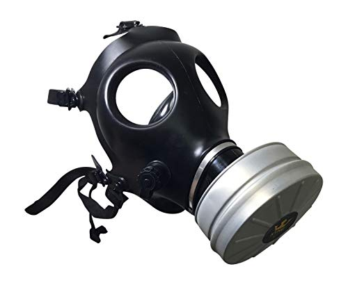 Israeli Style Rubber Respirator Mask NBC Protection w/Premium Aluminum Mask 40mm FILTER canister For Industrial Use Chemical Handling Painting, Welding, Prepping, Emergency Preparedness KYNG TACTICAL]()