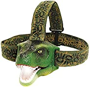 The Original DinoBryte LED Headlamp - T-Rex Dinosaur Headlamp for Kids   Dinosaur Toy Head Lamp Flashlight for