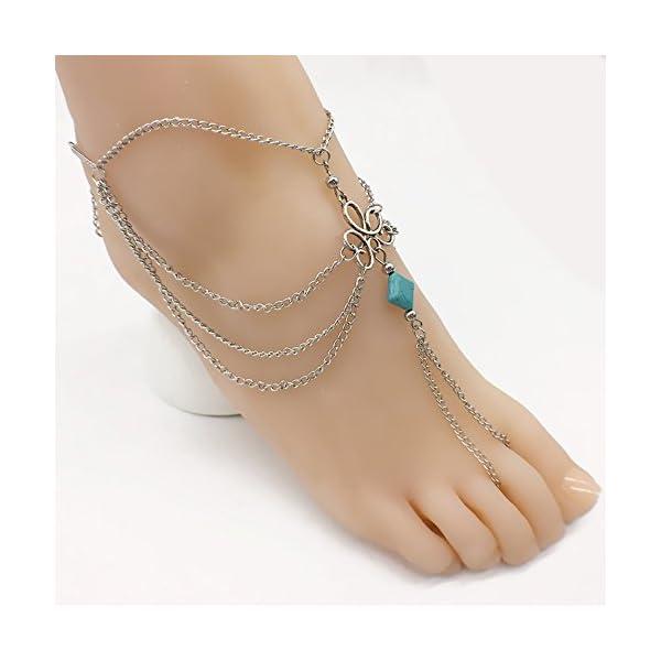 WeiMay 1 X Elegante multi-strato Nappa cavigliera catena donne braccialetto alla caviglia sandalo a piedi nudi piede… 3 spesavip