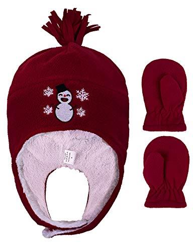 YoungLove Kids/Boys/Girls Polar Fleece Winter Hat and Mittens Set,Snowman Red,5-7 Years
