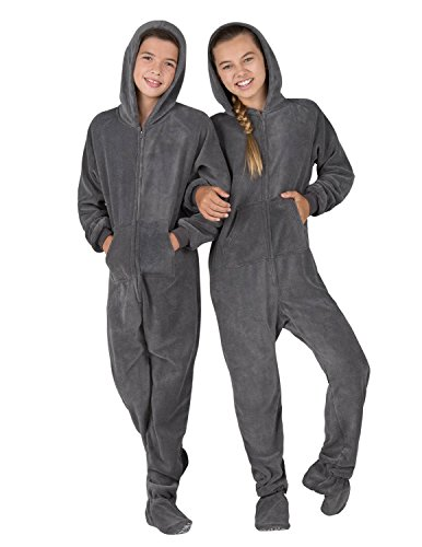 Footed Pajamas - Howling Moon Kids Hoodie Chenille Onesie - Small -