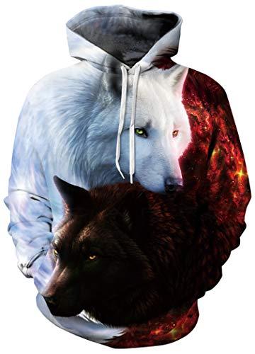 BarbedRose Unisex Long Sleeve 3D Funny Print Sweatshirts,Taichi Wolf,S/M