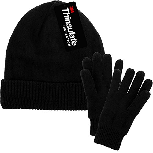 Hat And Gloves Set with 3M Thinsulate fleece lining, Black, One Size (Fleece Lightweight Cap)