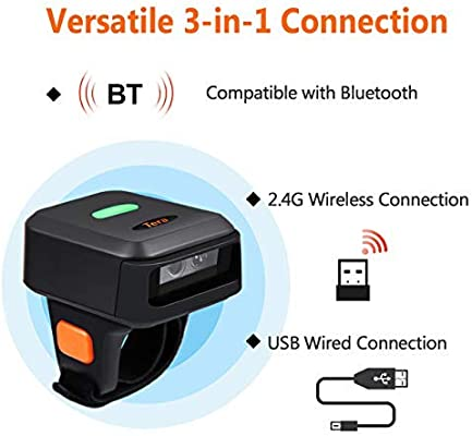 Tera Smallest Wireless Barcode Scanner 2D QR with Vibration Alert 3 in 1 Compatible with Bluetooth Function /& 2.4GHz Wireless /& Wired Connection