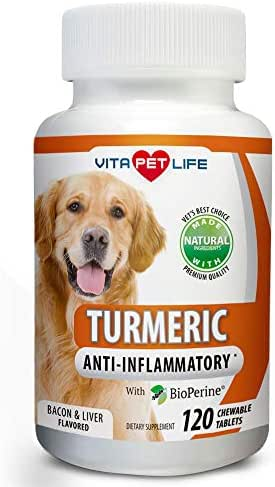 Turmeric for Dogs, Curcumin and BioPerine Anti Inflammatory Supplement, Antioxidant, Promotes Pet Mobility and Pain Relief, Prevents Joint Pain and Inflammation, 120 Natural Chew-able Tablets.
