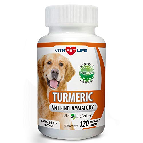- Turmeric for Dogs, Curcumin and BioPerine Anti Inflammatory Supplement, Antioxidant, Promotes Pet Mobility and Pain Relief, Prevents Joint Pain and Inflammation, 120 Natural Chew-able Tablets.