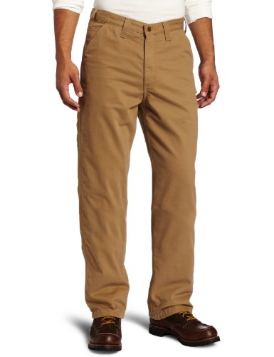 Carhartt Men's Washed Twill Dungaree Flannel Lined,Dark Khaki,36 x 34