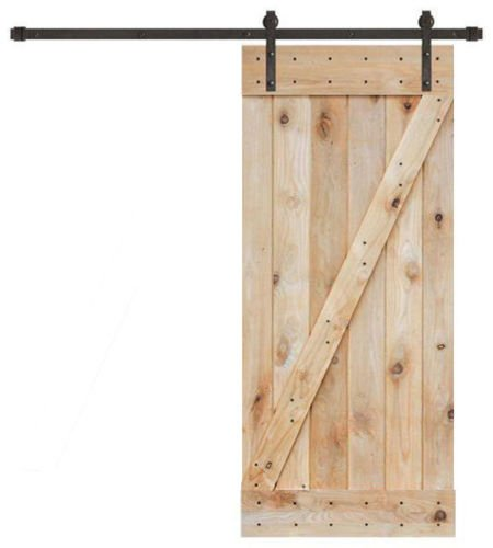 TMS 6FT Black Sliding Barn Door Hardware Set w/36''x84'' Unfinished Wooden Door Plank by TMS