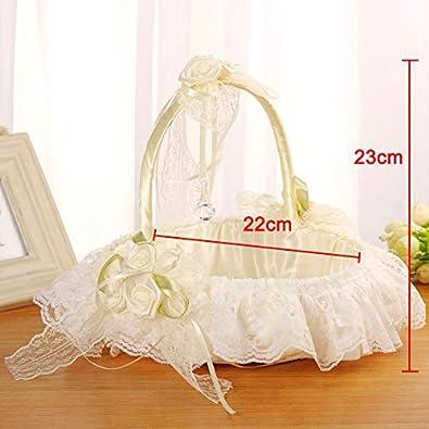 Hochzeit Brautzubeh/ör Satin romantische Schleife Blumenkorb f/ür M/ädchen huangThroStore Hochzeitskorb aus Bambus mit Spitze Dekoration