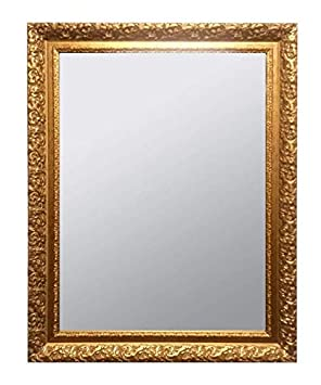 Raphael Rozen – Classic – Vintage – Hanging Framed Wall Mounted Mirror, Antique Gold, Carved Frame