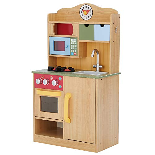 Teamson Kids - Little Chef Florence Classic Kids Play Kitchen | Toddler Pretend Play Set with Accessories - Wood Grain, Burlywood (TD-11708A)