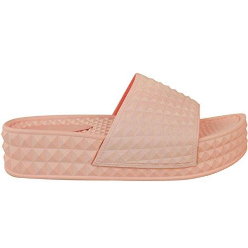 Mote Tørst Kvinners Sandaler Flatforms Plattform Glidere Flat Flip Flops Sko Størrelse Pastell Rosa Imitert Skinn
