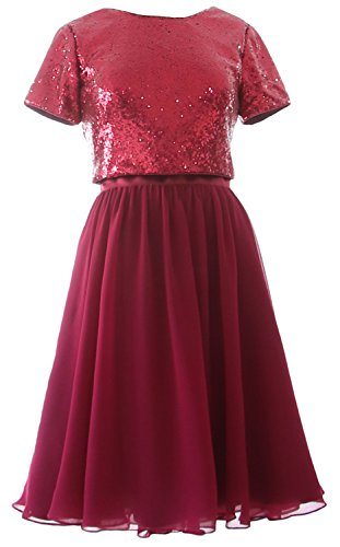 MACloth Bridesmaid Piece Two Sleeves Sequin Weinrot Formal Gown Dress Chiffon Cap Short axXra