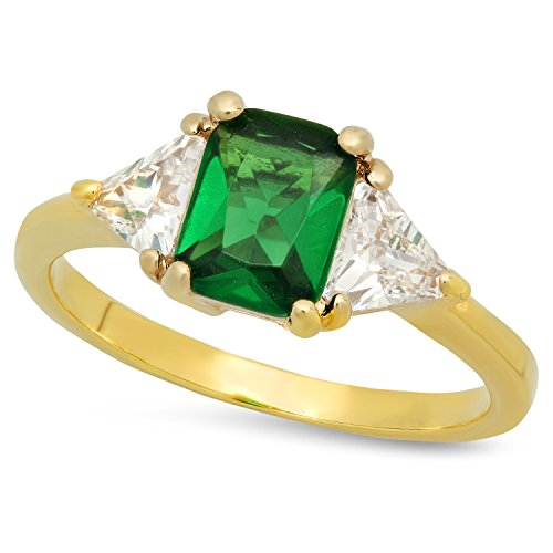 Gold Plated Emerald-Cut Forest Green CZ Three-Stone Ring, Size 7.5 + Microfiber Jewelry Polishing Cloth