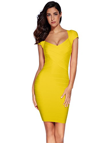 Meilun Women's Bandage Dress Square Neck Bodycon Party Dress (L, Yellow)