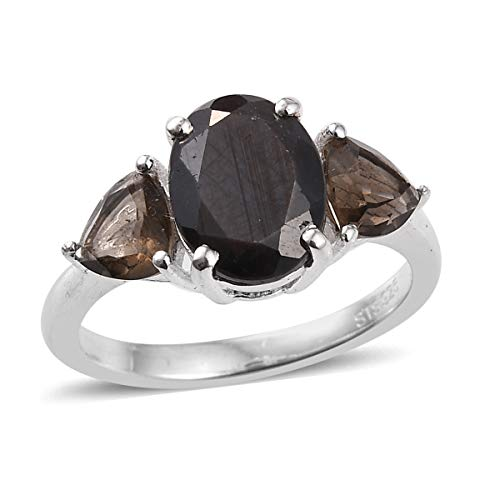 - Statement Ring 925 Sterling Silver Sapphire Smoky Quartz Gift Jewelry for Women Size 9 Cttw 2.5