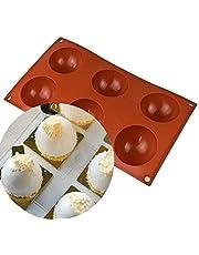 LUOWAN 5 Pack kleine ronde siliconen mallen, 6 gaten semi bol chocolade mallen, siliconen bakvorm voor het maken van Muffin Cupcake Brownie Cake Hot Chocolate Bombs, cake, gelei