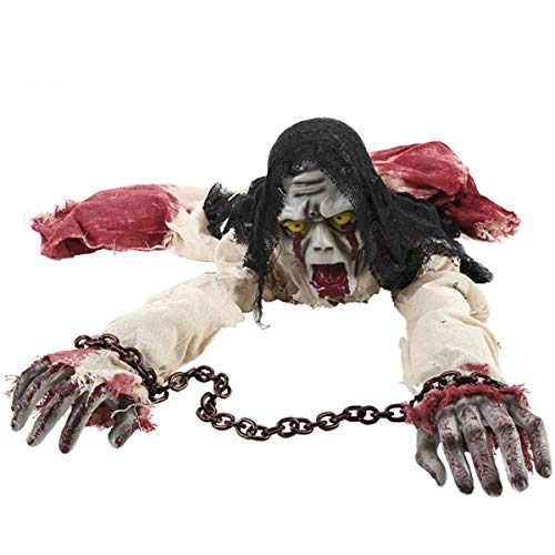 D-Fokes Halloween Decorations 43'' Electronic Crawling Zombie Horror Light Sensored Skeleton Bloody Haunted Animated Props Yard Scary Decor]()
