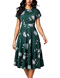 Women's Casual Short Sleeve Round Neck Floral Printe A line Midi Dress