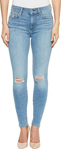 7 For All Mankind Women's The Highwaist Skinny Jean with Knee Holes, Bright Palms, 28 (Skinny 7 Jeans All Mankind)
