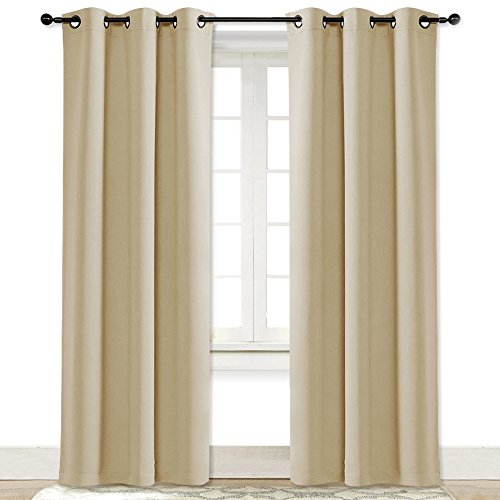 Cream Drapery Panels - NICETOWN Beige Room Darkening Curtain and Drape Energy Efficient Warmth Solid Grommet Room Darkening Curtain for Office & Classroom (Cream Beige, Sold Individually, 42 Inch Wide by 84 Inch Long)