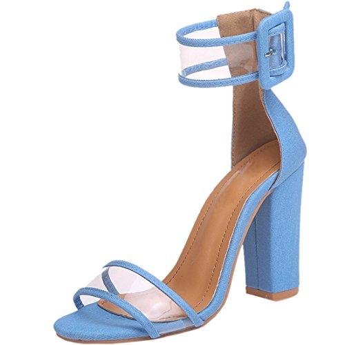 Tacco Perspex Stampa Sky Caviglia Serpente Alto Size Alla Ladies Cinturino 8 Fashion Party Blue Shoes 3 nUIdHf5nx