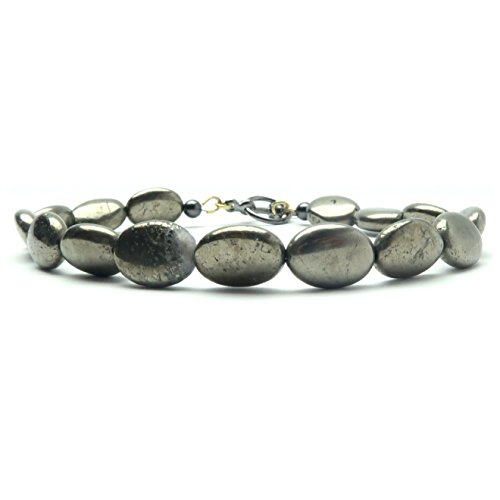 Pyrite Anklet 01 - Oval Fools Gold Clasp Beaded Stone (10 Inches)