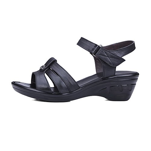 AllhqFashion Womens Open Toe Hook-and-loop Cow Leather Solid Kitten-Heels Sandals Black Xf04tVF