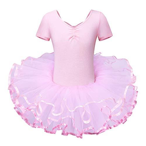 BAOHULU Leotard for Girls Ballet Dance Short Sleeve Full TulleTutu Skirted Dress Ballerina Costumes (4-5 Years(Tag No.L), Pure Pink) ()