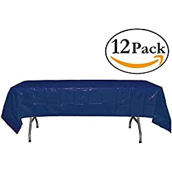 Exquisite 12-Pack Premium Plastic 54in. x 108in. Rectangle Table Cover - Navy Blue