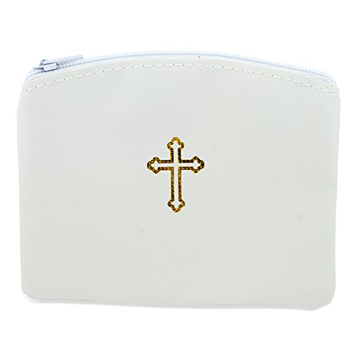 Beautiful Catholic Rosary Case (1, White)