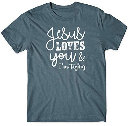 Jesus Loves You I'm Trying Steel Blue Cotton Blend Novelty T-Shirt Large -