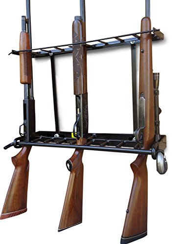 Wall Mounted Gun Rack - 9 Locking Gun Rack for Wall & Floor Mount, Secure Gun Storage Solutions for Home Closets, Vertical Black Rubber Coated Rifle, Shotgun Display Rack, Also for Gun Cabinets