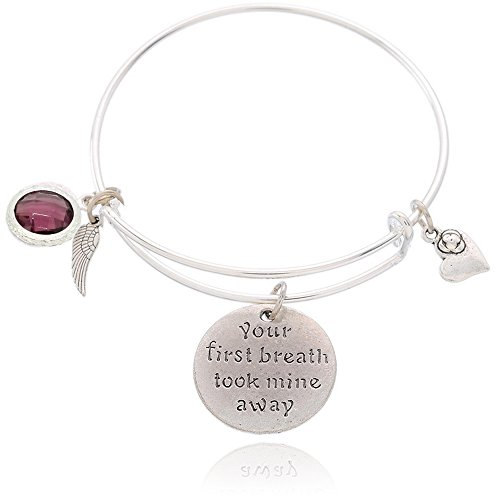 BEMI Popular 925 Sterling Silver Plated Engraved Message Charm Expandable Wire Bangle Bracelet for Woman Your first breath took mine away