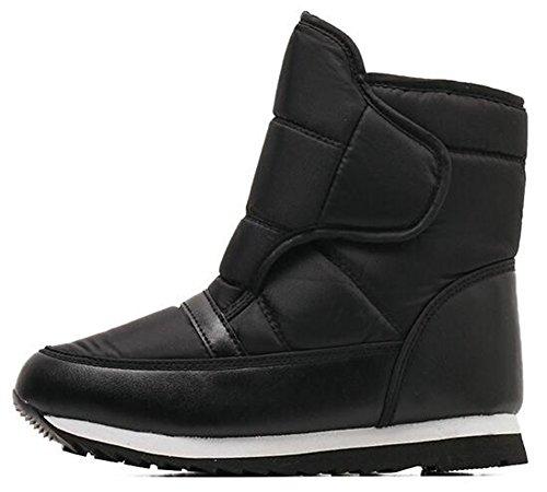 and Hook Flat Booties Black Fleece Men's Lined Loop Boots Snow Unisex Down Women's IDIFU Winter xTwq0SRpT