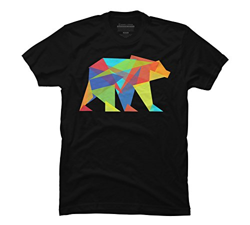 (Design By Humans Fractal geometric bear Men's X-Large Black Graphic T Shirt )